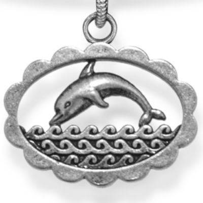 Personalized Jewelry: Animals & Critters: Silver-Tone Angelica Dolphin Expandable Bangle