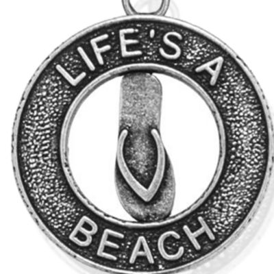 Personalized Jewelry: Symbols: Silver-Tone Angelica Life's a Beach Expandable Bangle