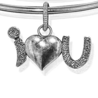 Personalized Jewelry: Symbols: Silver-Tone Angelica I Love You Expandable Bangle