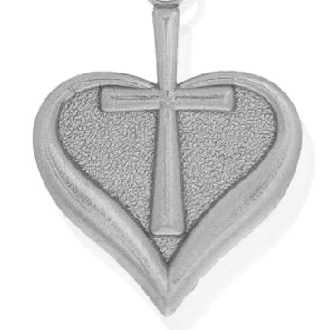 Personalized Jewelry: Symbols: Silver-Tone Angelica Heart and Cross Expandable Bangle