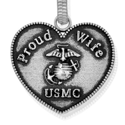 Personalized Jewelry: Military: Silver-Tone Angelica USMC Proud Wife Expandable Bangle