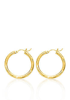 Belk & Co. 10k Yellow Gold Diamond Cut Hoop Earrings