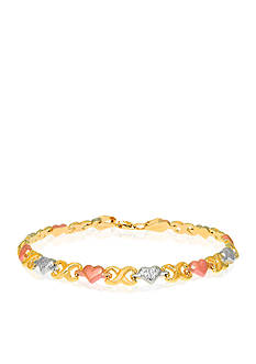 Belk & Co. 10k Tri Color Heart Stampato Bracelet