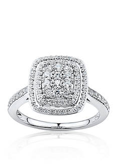 Belk & Co. Diamond Cluster Ring in 10k White Gold
