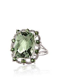 Belk & Co. Sterling Silver Green Amethyst, Green Tourmaline and Diamond Ring