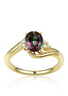 Belk & Co. Mystic Fire Topaz and Diamond Accent Ring in 10k Yellow Gold