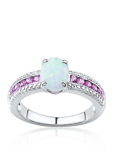 Belk & Co. Created Opal, Pink Topaz, and Diamond Accent Ring in Sterling Silver