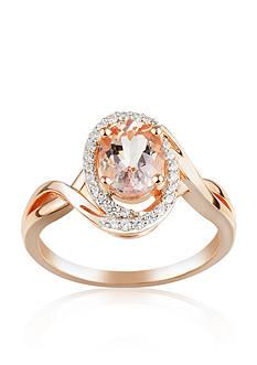 Belk & Co. 10k Rose Gold Morganite and Diamond Ring
