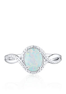 Belk & Co. Created Opal and Diamond Accent Ring in Sterling Silver