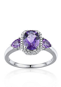 Belk & Co. Sterling Silver 3 Stone Amethyst and Diamond Ring