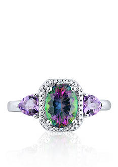 Belk & Co. Mystic Fire Topaz & Amethyst Diamond Ring Set in Sterling Silver