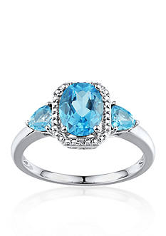Belk & Co. Sterling Silver 3 Stone Swiss Blue Topaz and Diamond Ring