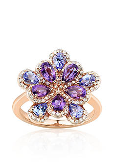 Belk & Co. Amethyst, Tanzanite, and Diamond Ring in 10k Rose Gold