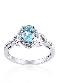 Belk & Co. Sterling Silver Sky Blue Topaz and Diamond Ring