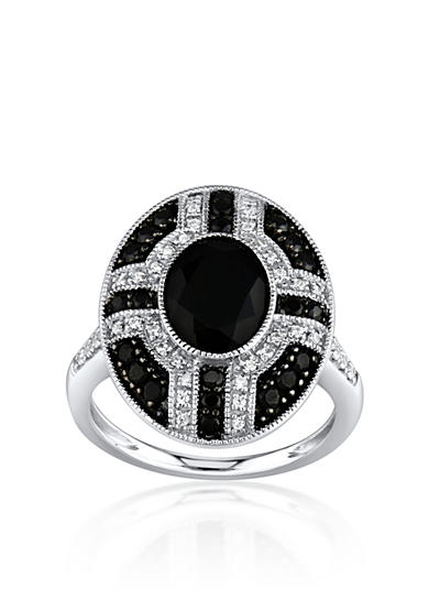 Belk & Co. Onyx and Diamond Ring in Sterling Silver