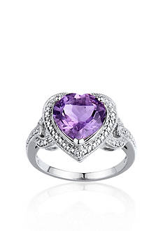 Belk & Co. Sterling Silver Amethyst and Diamond Heart Ring