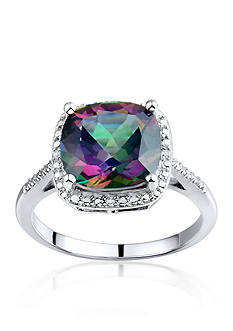 Belk & Co. Sterling Silver Mystic Topaz and Diamond Ring