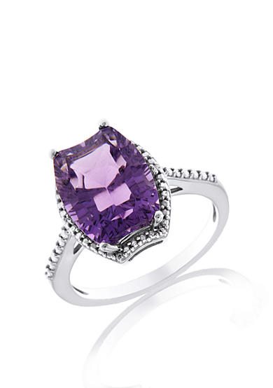 Belk co sterling silver amethyst and diamond ring belk for Belk fine jewelry rings
