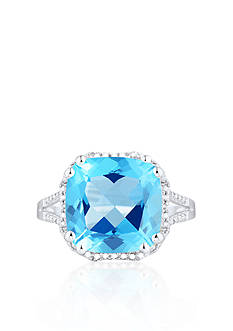 Belk & Co. Sterling Silver Swiss Blue Topaz and Diamond Ring
