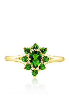 Belk & Co. Chrome Diopside Diamond Ring set in 10k Yellow Gold