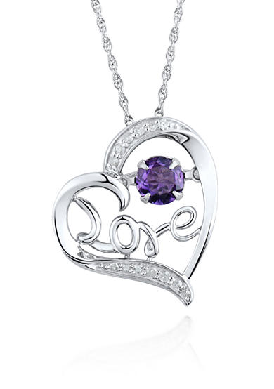 Move My Heart Sterling Silver Moving Amethyst and Diamond Love Pendant