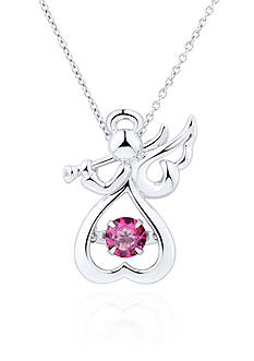 Move My Heart Pink Topaz Angel Pendant in Sterling Silver