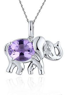 Belk & Co. Sterling Silver and Amethyst Elephant Pendant