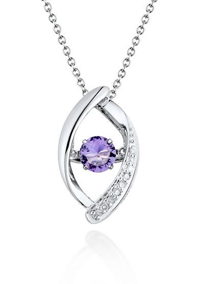 Move My Heart Sterling Silver Moving Amethyst and Diamond Pendant