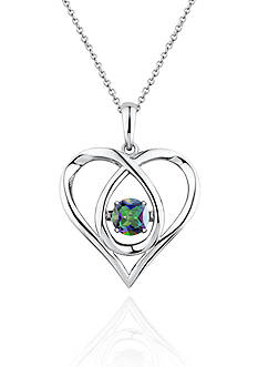 Move My Heart Sterling Silver Moving Mystic Topaz Heart Pendant