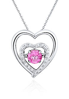 Move My Heart Sterling Silver Moving Pink Topaz and Diamond Double Heart Pendant