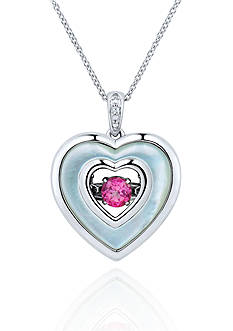 Move My Heart Pink Topaz, Mother of Pearl, and Diamond Accent Pendant set in Sterling Silver