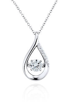 Move My Heart Cubic Zirconia Teardrop Pendant in Platinum Plated Sterling Silver
