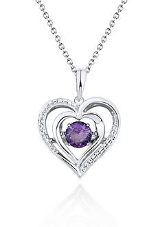 Move My Heart Sterling Silver Moving Amethyst and Diamond Heart Pendant