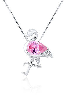 Belk & Co. Pink and White Cubic Zirconia Flamingo Pendant in Platinum Plated Sterling Silver