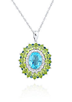 Belk & Co. Blue Topaz Oval Peridot Halo Pendant Set in Sterling Silver