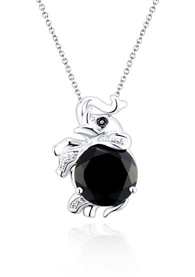Belk & Co. Sterling Silver Onyx and Diamond Elephant Pendant