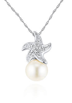 Belk & Co. Sterling Silver Freshwater Pearl and Diamond Starfish Pendant