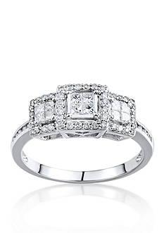 Belk & Co. 1/2 ct. t.w. 3 Stone Diamond Cluster Ring in 10k White Gold