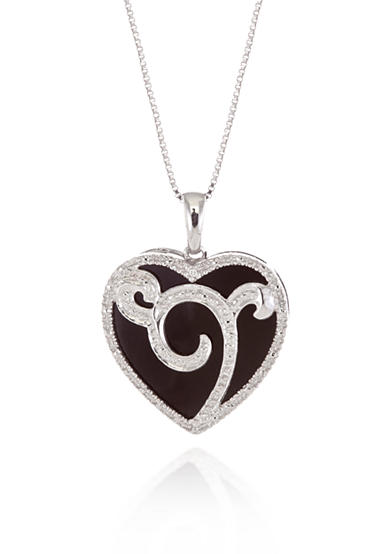 Belk & Co. Sterling Silver Onyx and Diamond Heart Pendant