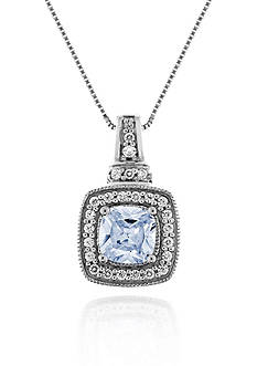 Belk & Co. Sterling Silver Aquamarine and Diamond Pendant