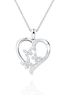 Belk & Co. 1/10 ct.t.w. Diamond Heart Flower Pendant in Sterling Silver