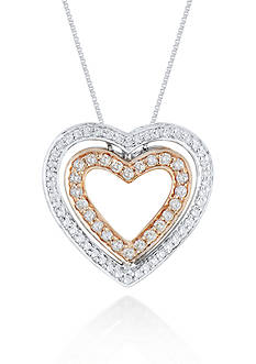 Belk & Co. Diamond Heart Pendant in 10k White and Rose Gold