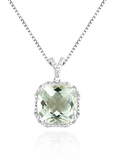 Belk & Co. Sterling Silver Green Amethyst and Diamond Pendant