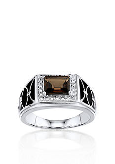 Belk & Co. Men's Smokey Quartz and Diamond Ring in Sterling Silver