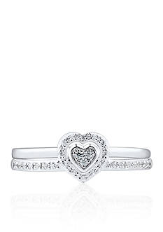 Belk & Co. Diamond Heart 2-Piece Ring Set in Sterling Silver
