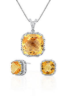Belk & Co. Sterling Silver Citrine and Diamond Earring and Pendant Set