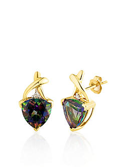 Belk & Co. 10k Yellow Gold Mystic Fire Topaz and Diamond Earrings