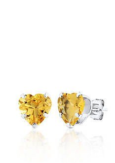 Belk & Co. 14k White Gold Heart Stud Citrine Earrings