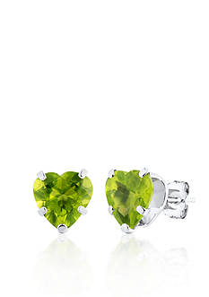 Belk & Co. 14k White Gold Peridot Heart Stud Earrings