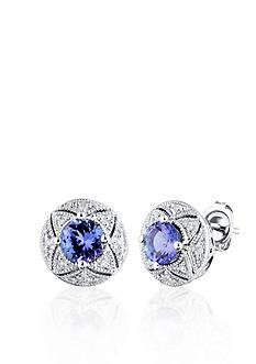 Belk & Co. Sterling Silver Tanzanite and Diamond Stud Earrings